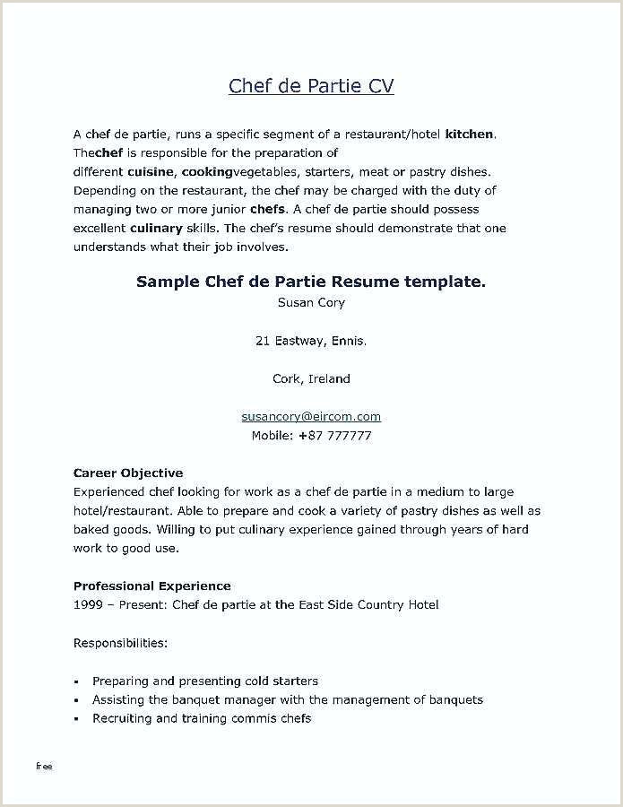 Cv format for Chef Job Sample Chef Resume – Agarvain