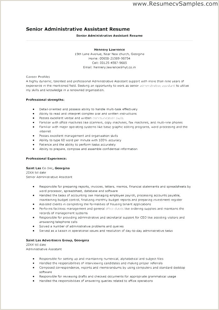 Cv format for Clerical Job Administrative assistant Resume Example Free Admin Sample