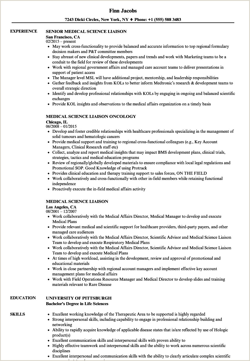 Medical Science Liaison Resume Samples