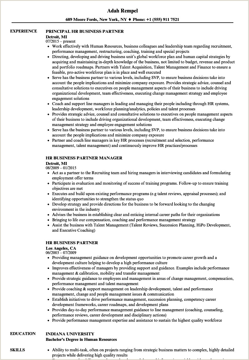 Cv Format For Company Job Hr Business Partner Resume Samples