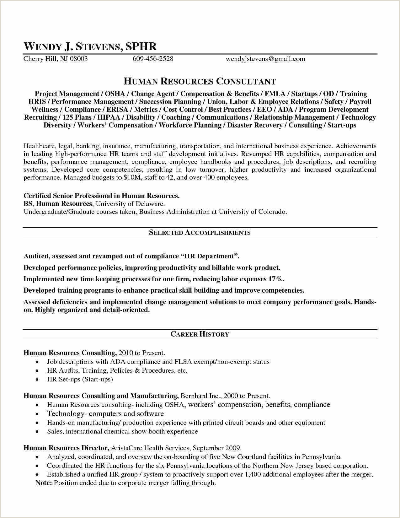 Cv format for Company Job Human Resources Manager Resume