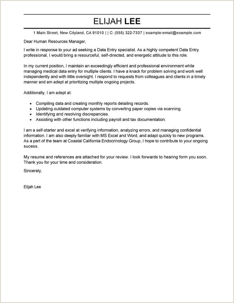 Cv format for Computer Job Best Data Entry Cover Letter Examples