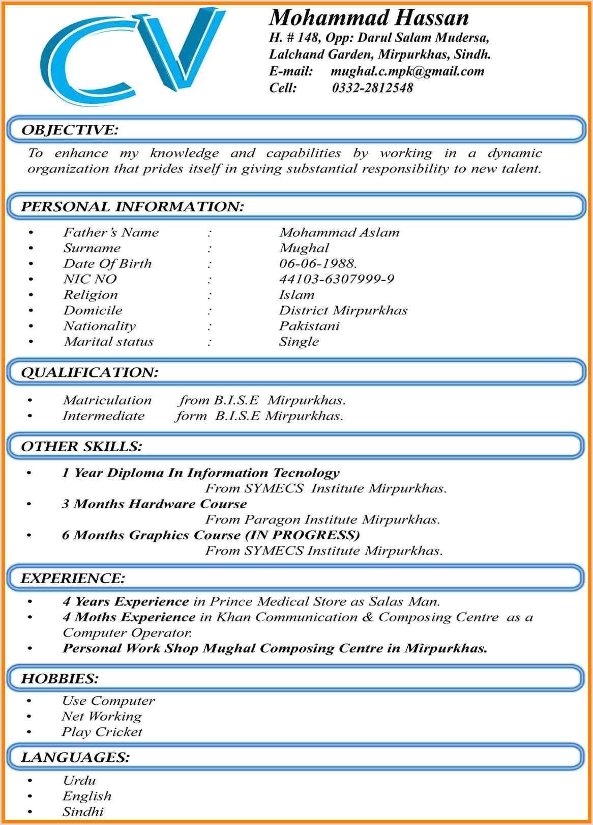 Cv format for Computer Job Cv Word Document format Sandeep