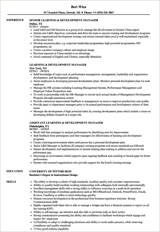 Cv Format For Cruise Jobs Learning & Development Manager Resume Samples