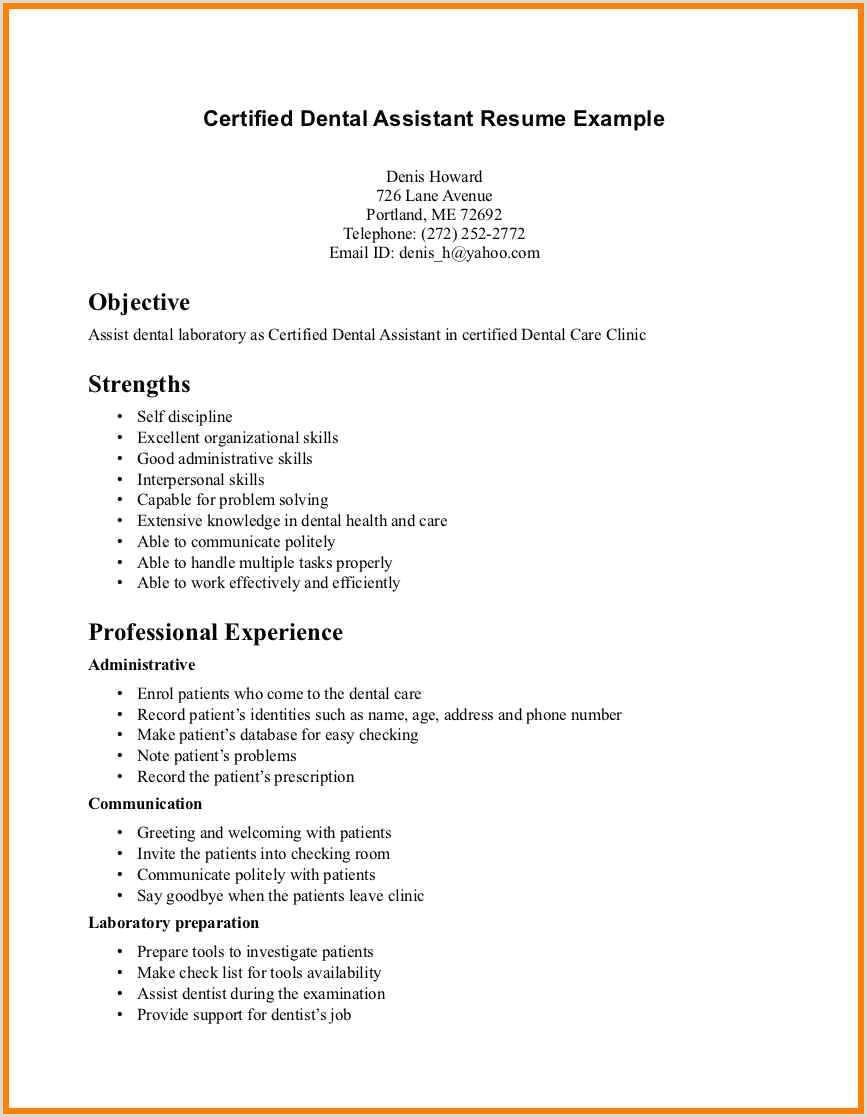 Cv format for Dentist 9 10 Dental assistant Skills for Resume