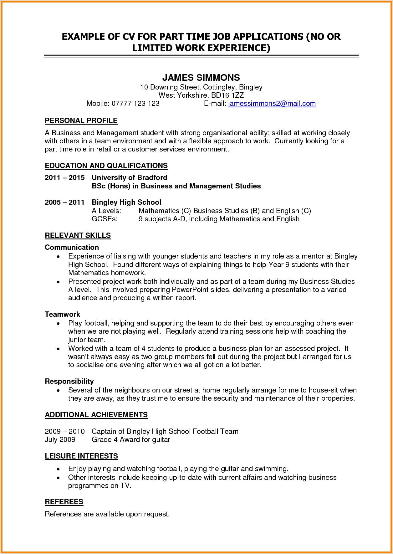 Cv Format For Driver Job Cv Template Student Job