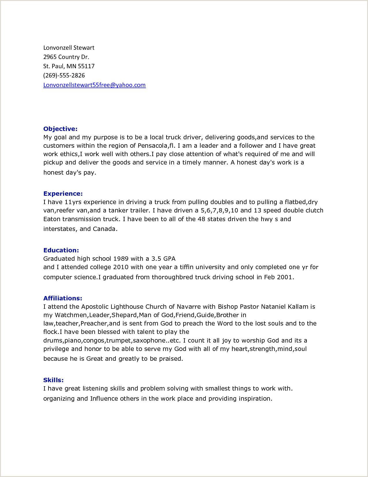 Cv format for Driver Job School Bus Driver Job Description for Resume Professional