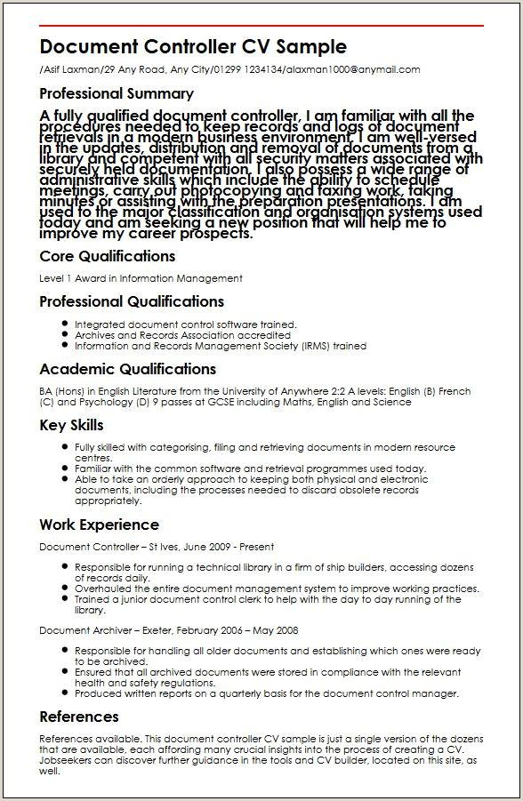 Cv Format For Dubai Job Document Controller Cv Sample Myperfectcv