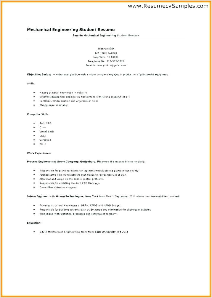 Cv Format For Engineering Job Engineering Internship Resume Sample – Growthnotes