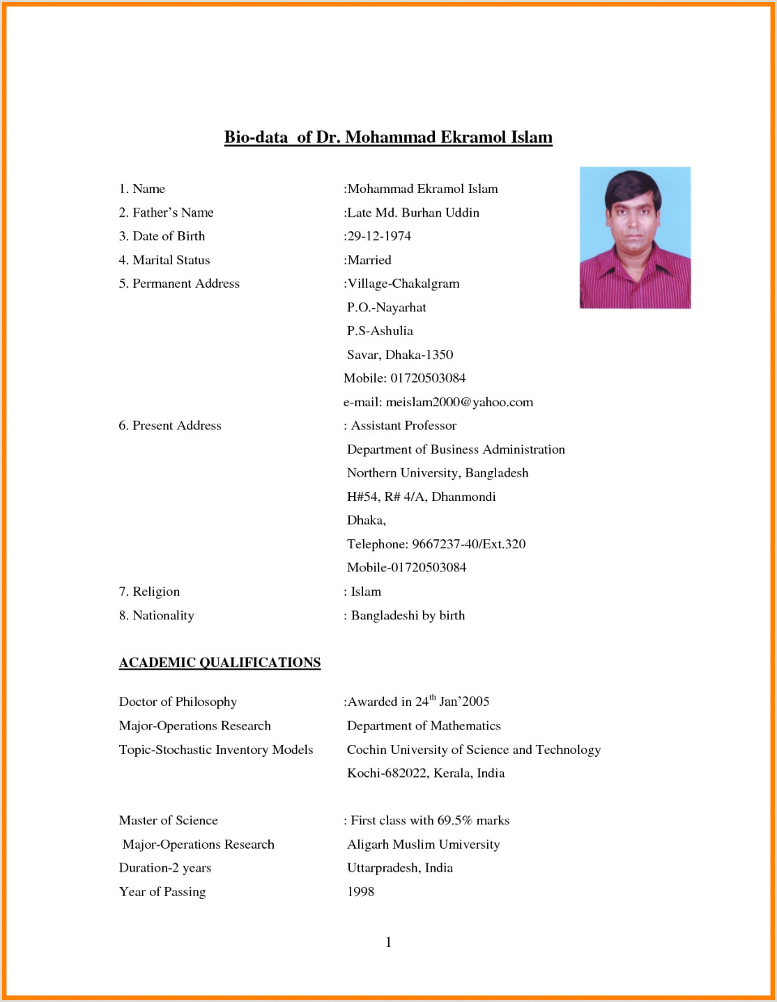 Cv format for Engineering Job In Bangladesh Resume format Download Pdf