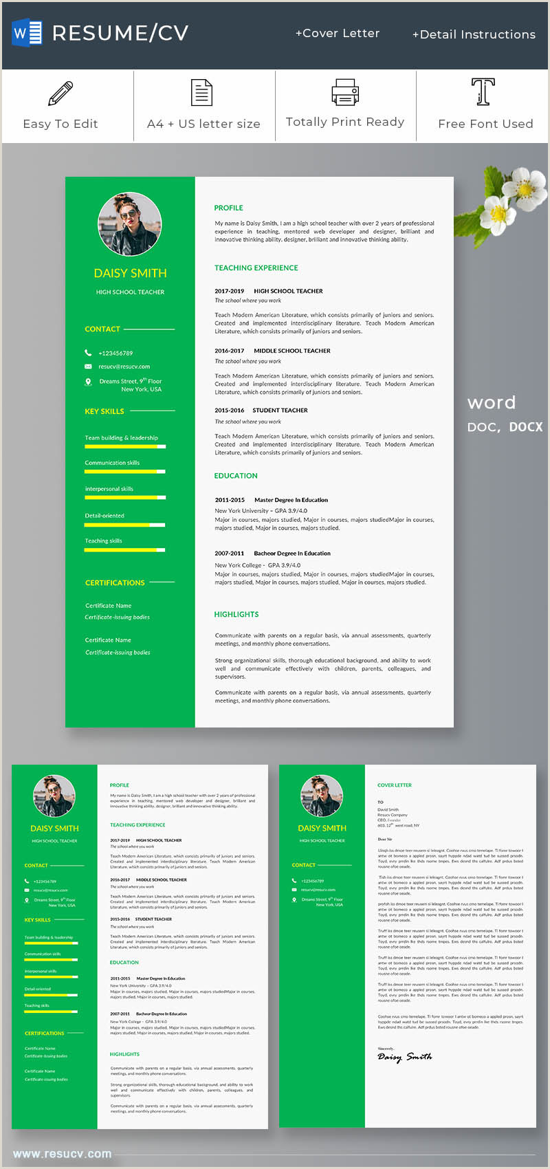 Cv format for Environmental Jobs Green School Teacher Resume Cv Template with Cover Letter