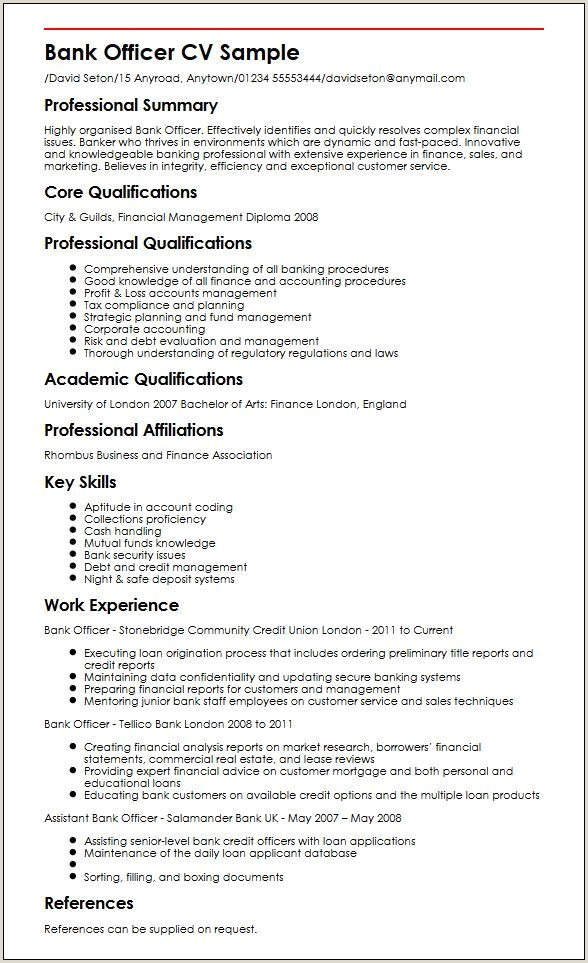 Cv Format For Finance Job Banking Resumes