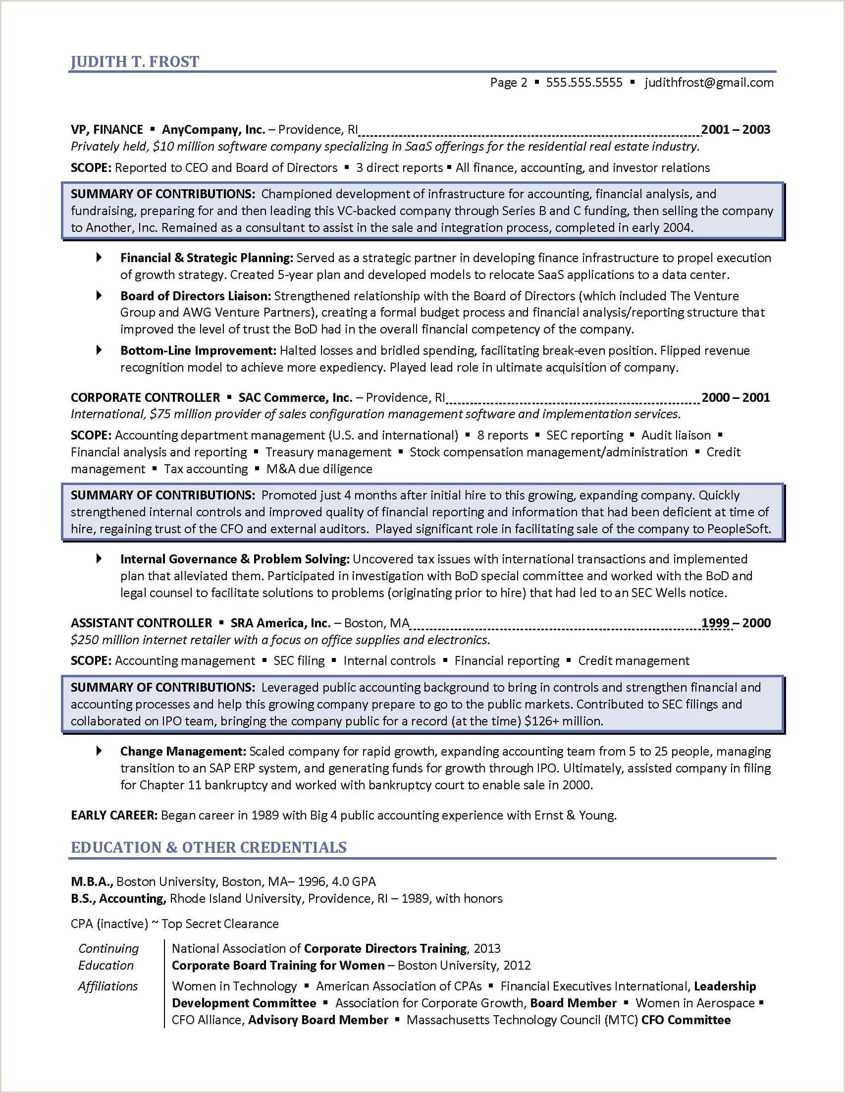 Cv format for Finance Job Board Of Directors Resume Example for Corporate or Nonprofit