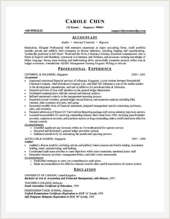 Cv Format For Finance Job Professional Resume Cover Letter Sample