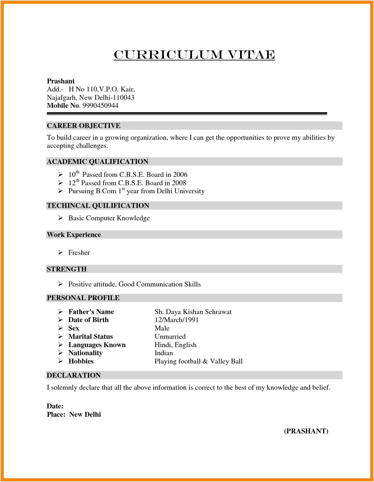 Cv format for Fresher Air Hostess Simple Resume format for Mba Freshers