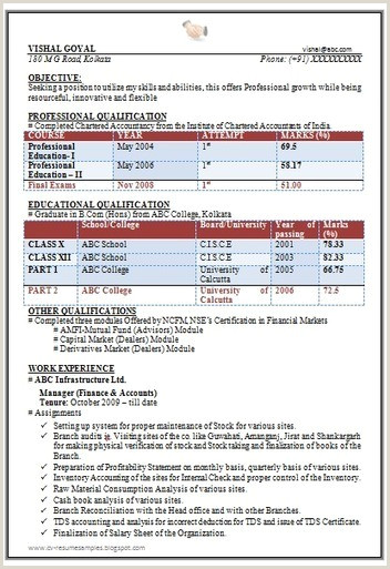 Cv format for Fresher Chartered Accountant Career Page 13