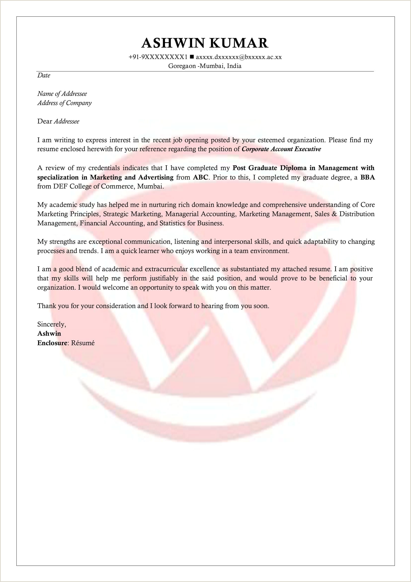 Cv Format For Fresher Chartered Accountant Freshers Sample Cover Letter Format Download Cover Letter
