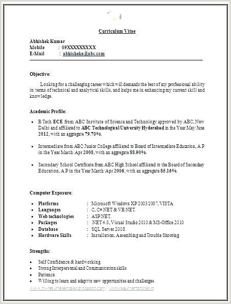 Cv format for Fresher Civil Engineer Sample Resume for Freshers Pdf – Englishor