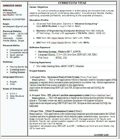 Cv Format For Fresher Commerce Graduate 1 Page Resume Format For Freshers Resume Format