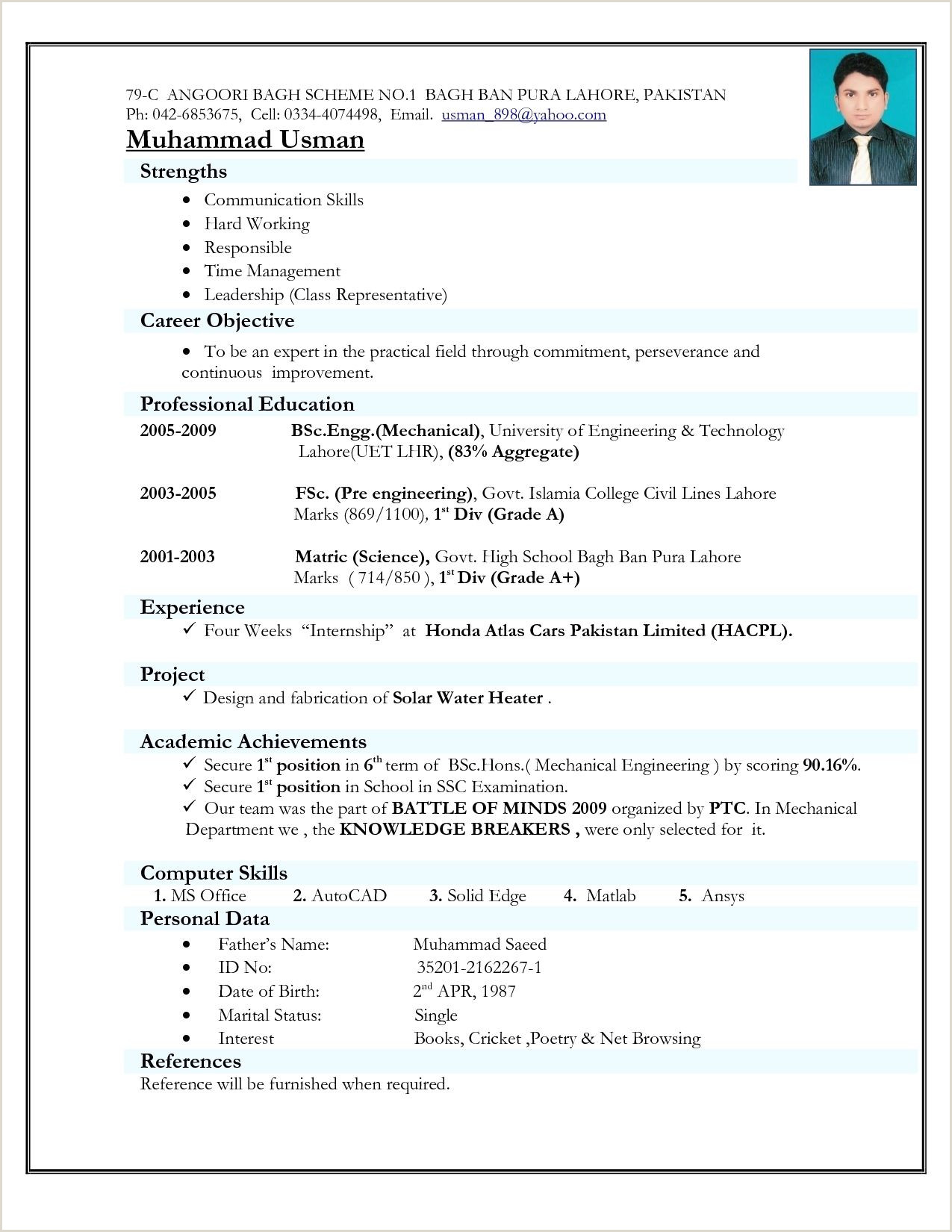 Cv Format For Fresher Computer Engineer Resume Format India D