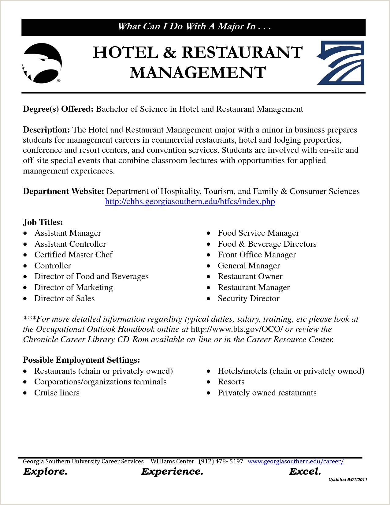 Cv format for Fresher Hotel Management Hotel Manager Resume