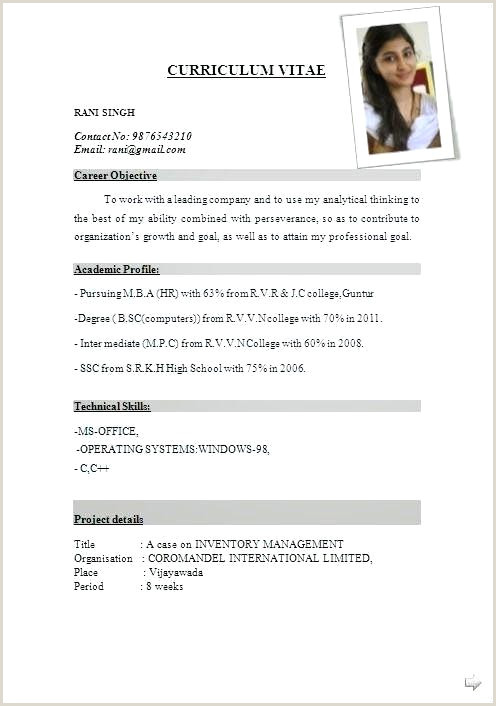 Cv format for Fresher Hotel Management International Resume format Free Download Sample for