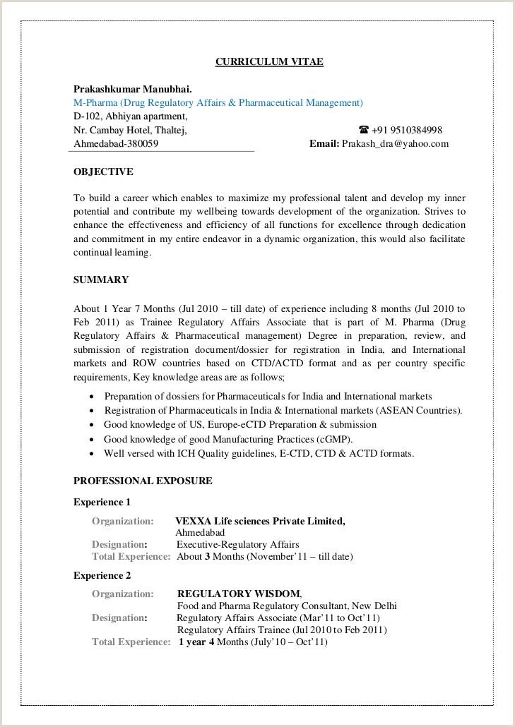 Cv Format For Fresher Hotel Management Prakash Cv