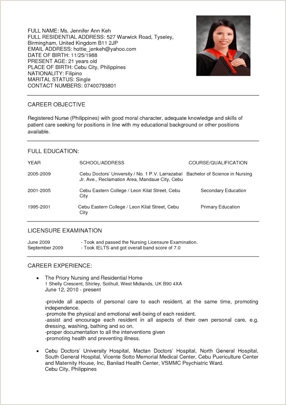 Cv Format For Fresher Nurses Sample Resume For Fresh Graduates It Professional Latest