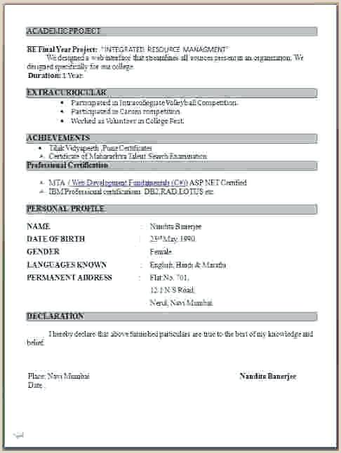 Cv Format For Fresher School Teacher Fresher Teacher Resume Format Doc