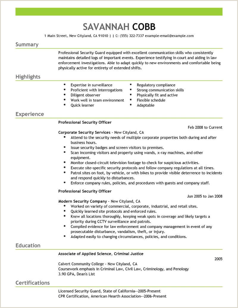 Cv Format For Fresher Student Best Professional Security Ficer Resume Example