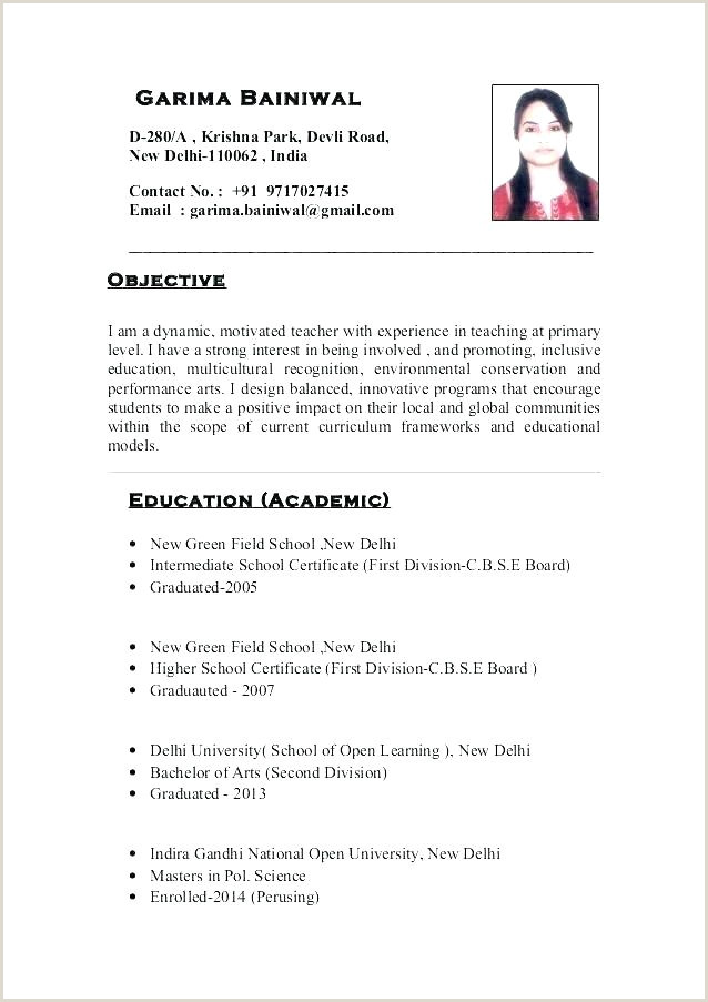 Cv Format For Fresher Teacher Job 10 Indian Teacher Resume Format