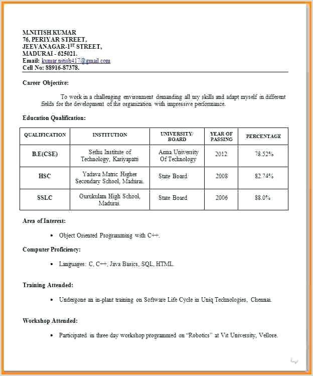 Cv Format For Fresher Teachers Doc Resume Format Job Interview Resume Format