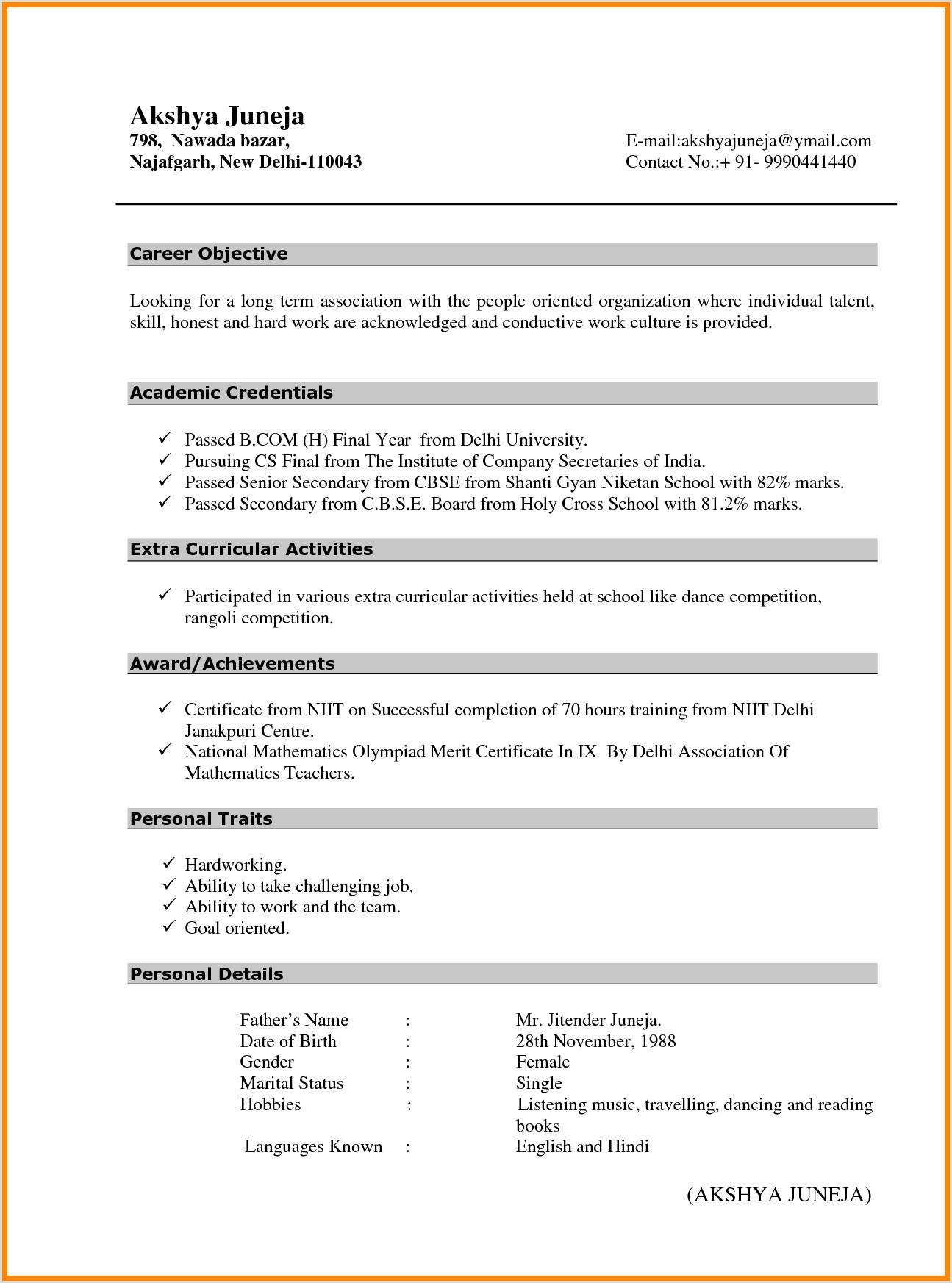 Cv Format For Fresher Teachers Doc Teacher Resume Cover Letter New For Fresher Job Application