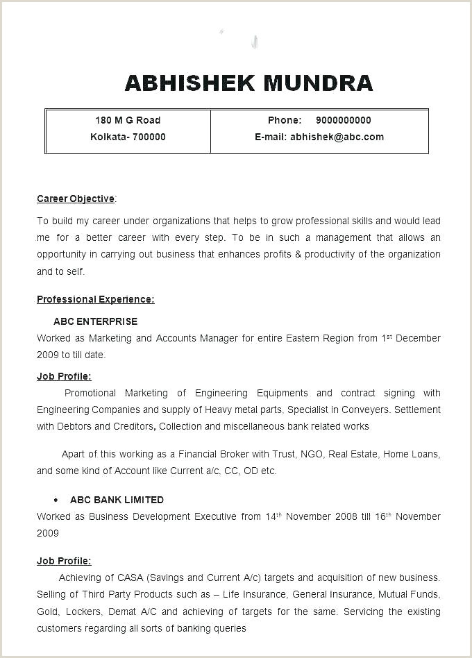 Cv format for Freshers Bcom Graduates Cv Template for Students with No Work Experience – Vseo Te
