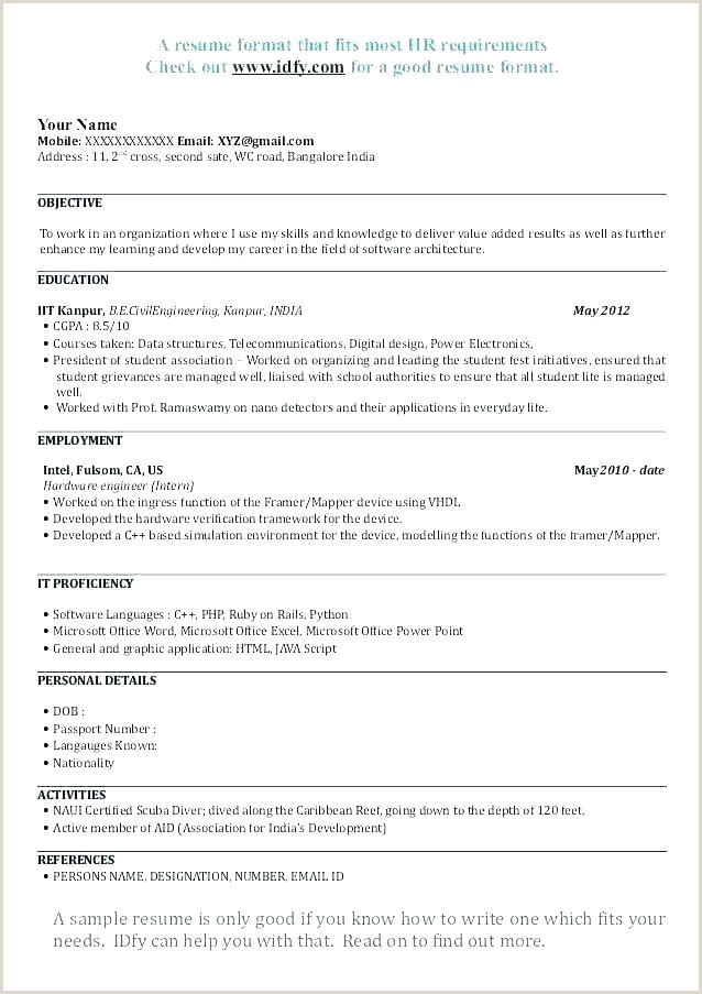 Cv format for Freshers Bcom Graduates format Of Good Resume – Thrifdecorblog