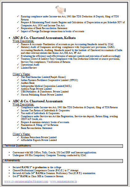 Cv Format For Freshers Bcom Graduates Over Cv And Resume Samples With Free Download