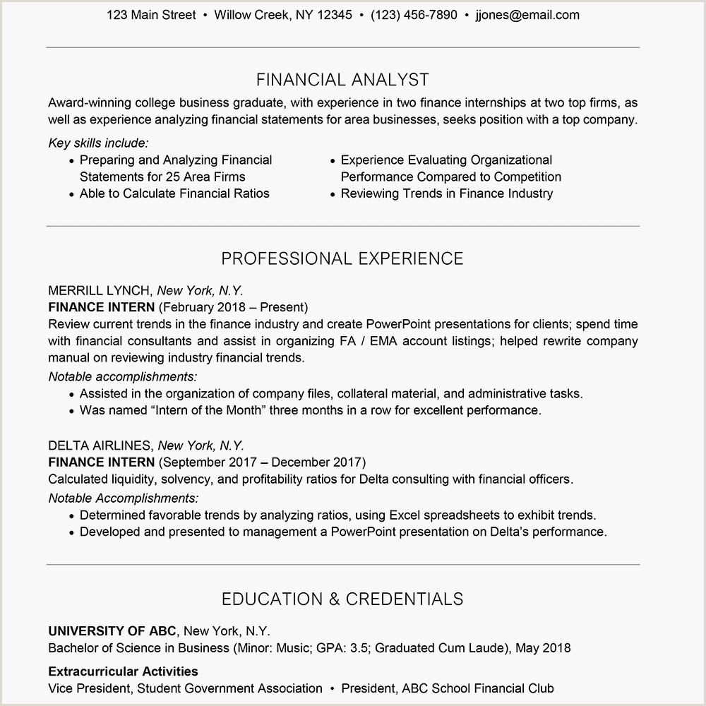 Cv format for Freshers Bcom Graduates What Should A Sample Finance Intern Resume Look Like