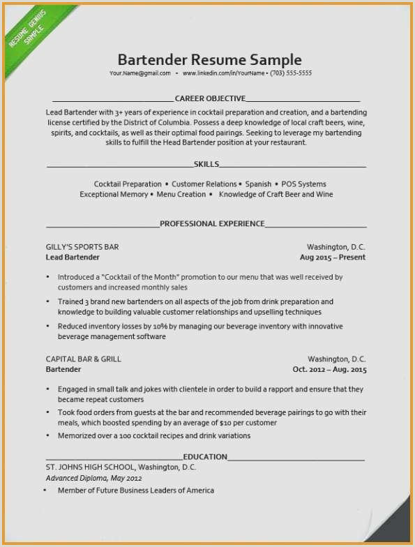 Cv Format For Gulf Job Bartending Resume Examples Best Cv Sample For Job Luxury
