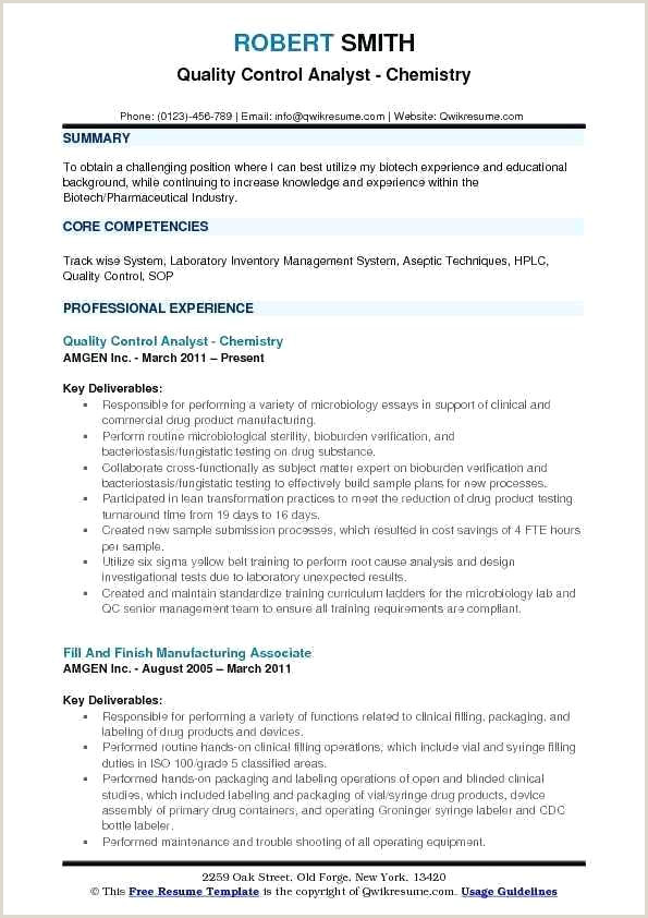 Cv format for Gulf Job Quality Control Analyst Resume Samples Chemistry Sample