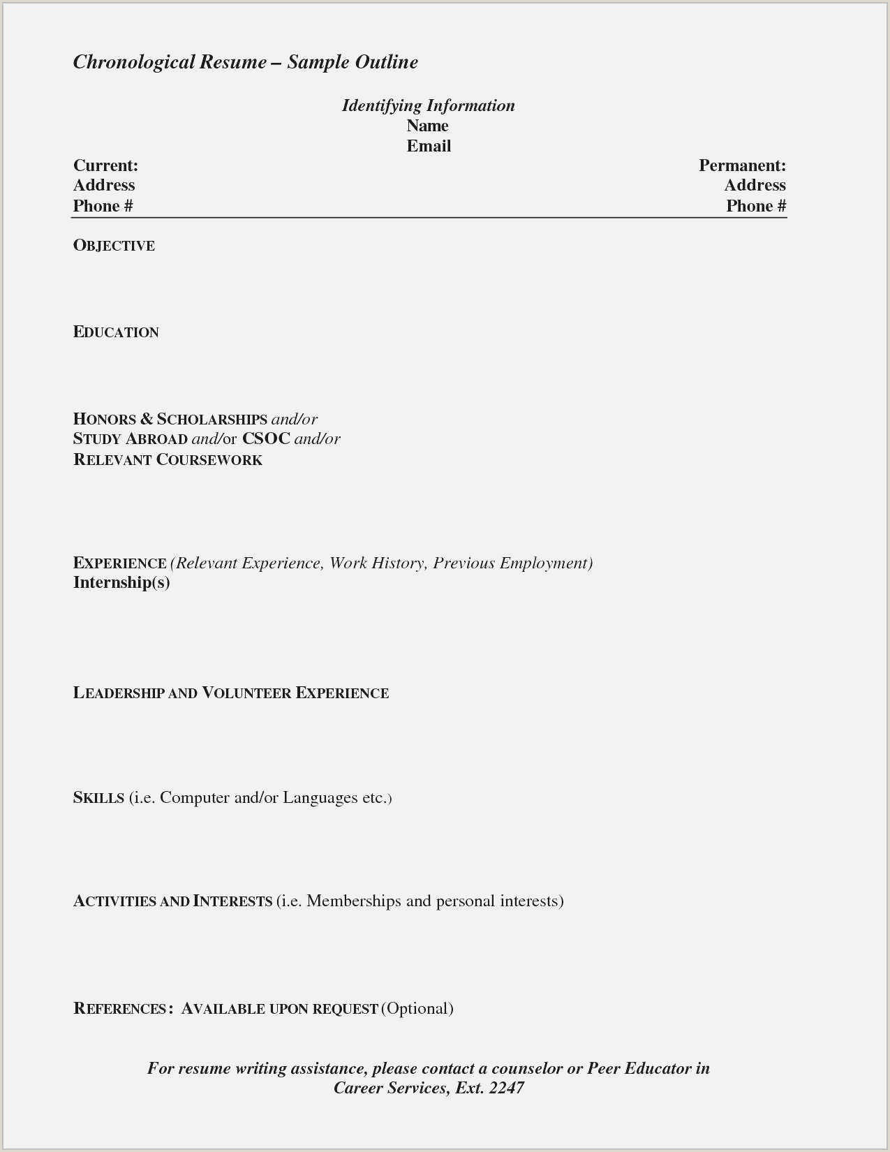 Cv Format For Holiday Jobs New Working Holiday Resume Sample