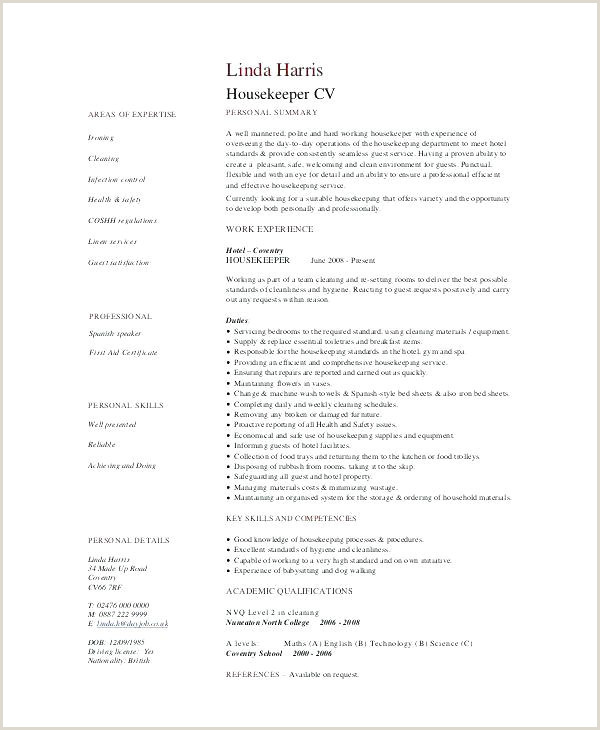Cv format for Hospital Job Hospital Housekeeping Job Description for Resume Examples