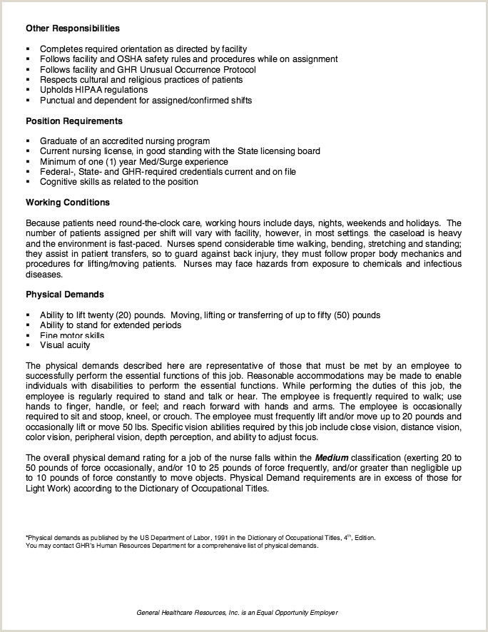 Cv format for Hospital Job Human Resources Job Description for Resume