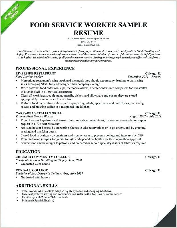 Cv Format For Hotel Job Waiter Waiter Cv Template
