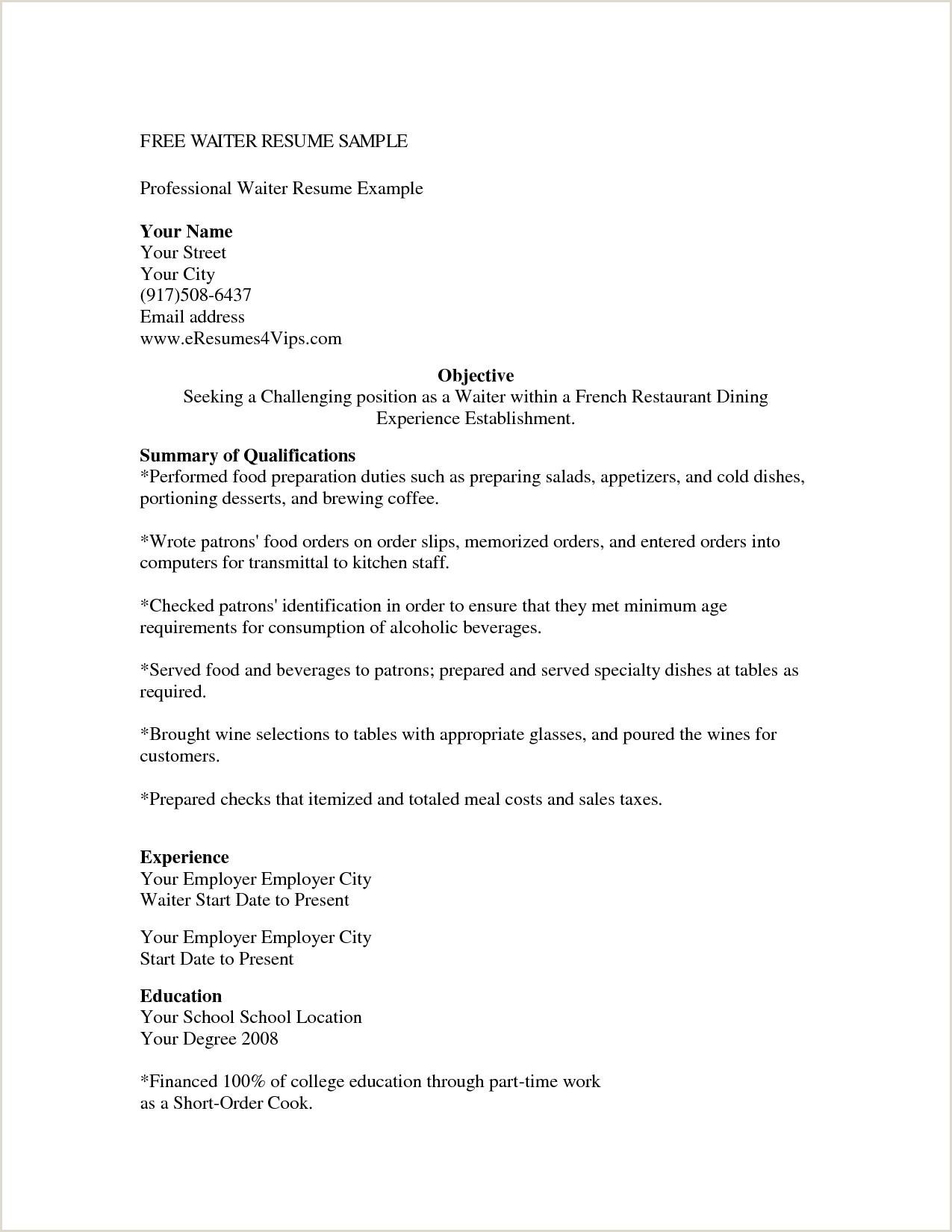 Cv Format For Hotel Job Waiter Waiter Job Description Resume Templates Catering Back Duties