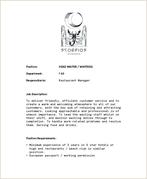 Cv Format For Hotel Job Waiter Waitress Job Description For Resume Best Head Waiters
