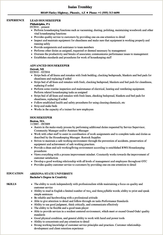 Cv Format For Housekeeping Job Housekeeper Resume Samples
