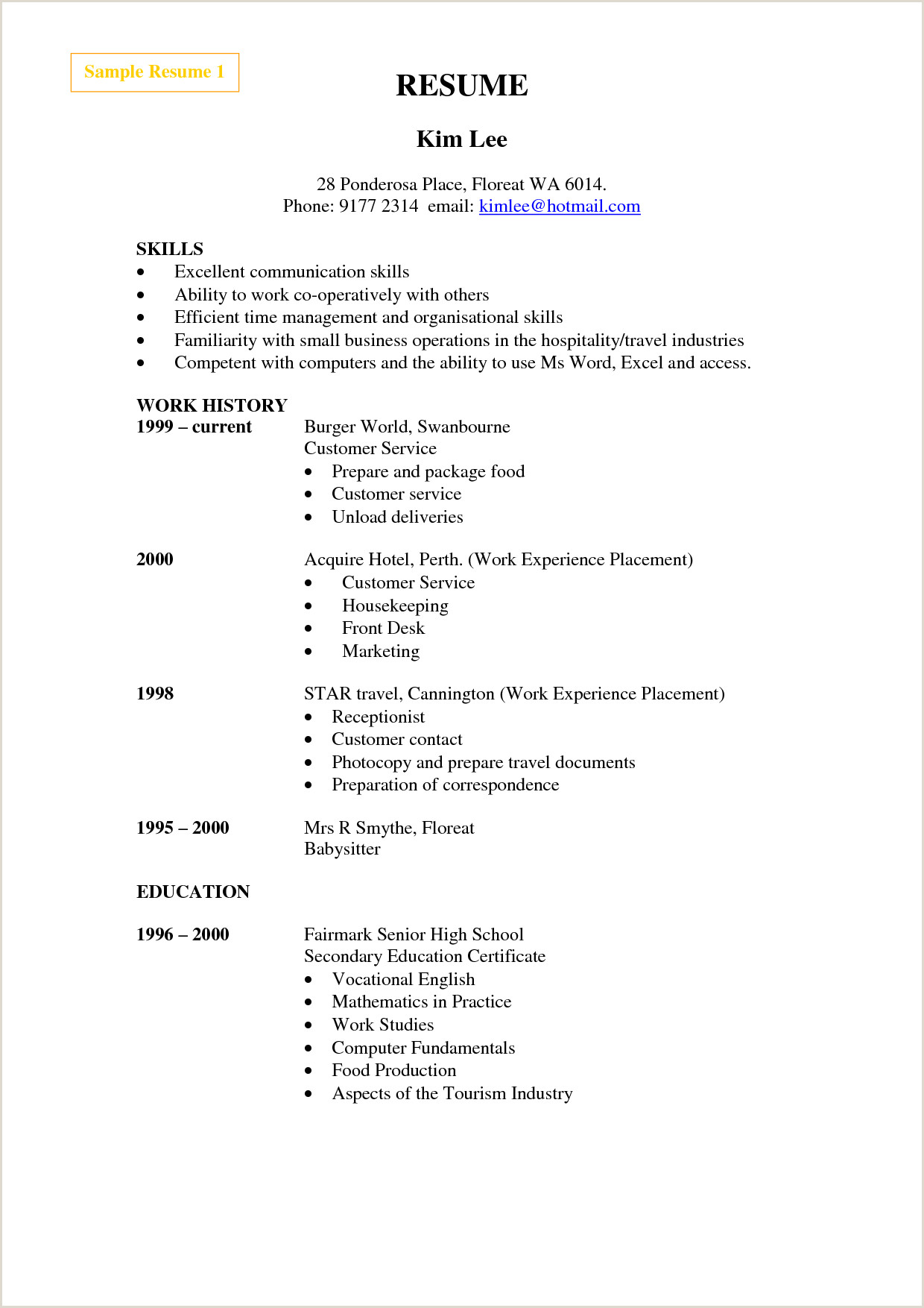 Cv format for Housekeeping Job Sample Resume for Cleaner Hotel Cleaning Example Service
