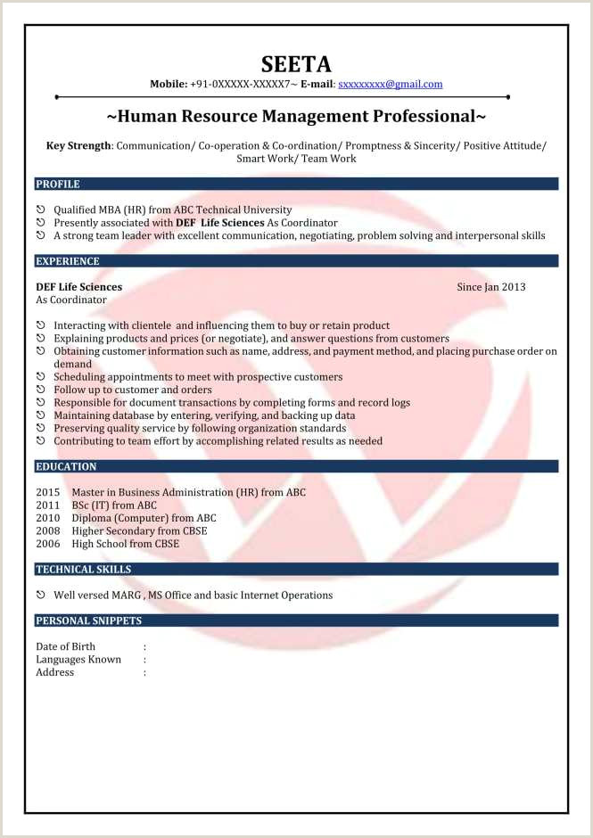 Cv format for Hr Fresher Free Hr Resume format Resume Sample
