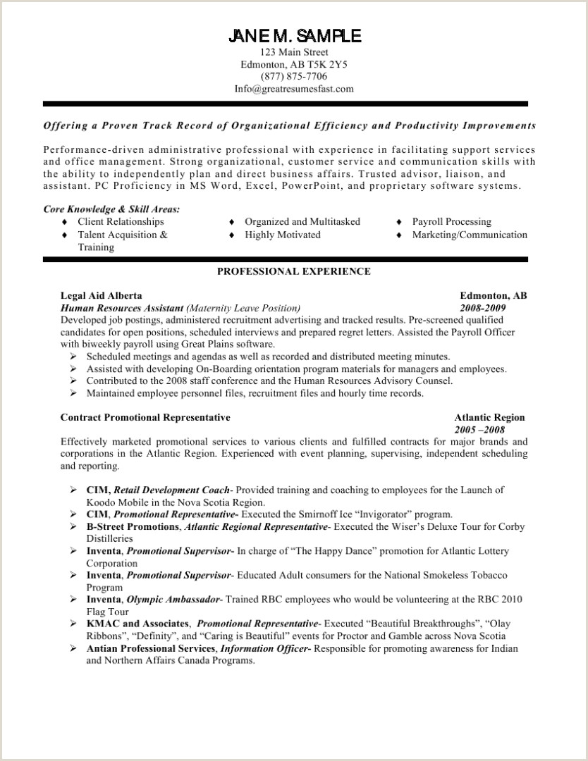 Cv format for Hr Job Hr assistant Skills