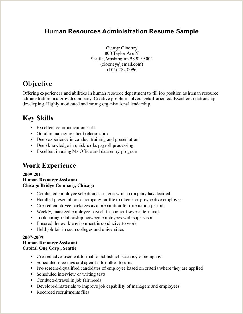 Cv Format For Hr Job Human Resource Clerk Cover Letter